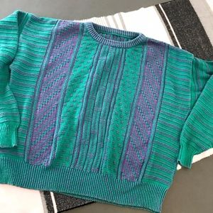 vtg vintage  90s M L purple and green sweater cott